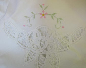large white PILLOW SHAM - king, unused, cotton, lace, embroidered, scalloped edge
