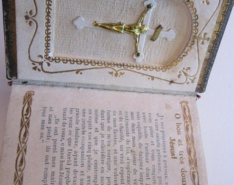 antique French prayer book - Petit Paroissien- circa 1920, crucifix inside cover, sacred heart scapular