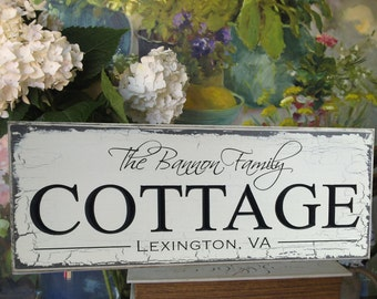 Carved & Engraved Shabby Chic Cottage Sign... Personalized Family Name Sign.. Lake House