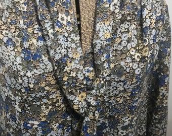 70s blue brown flower print dress