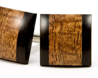 Wood Cufflinks | Hawaiian Koa Ebony | Real Wooden Cufflinks | Wedding Cufflinks | Mens Cufflinks | Gift for Dad, Groomsmen, 5th Anniversary