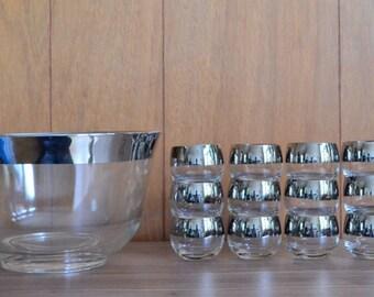 vintage midcentury modern silver rimmed glass punch set / silver rim roly poly glasses / modern barware