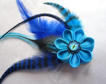 Serpent of Tides Kanzashi Flower Fascinator Hair Clip with Feathers