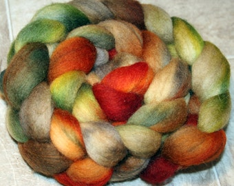 4oz Corridale hand dyed, fall colored roving,OOAK B111316