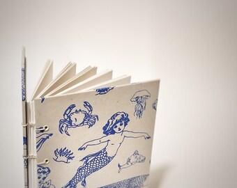 mermaids coptic bound writing journal - ocean journal - bullet journal notebook - cute drawing sketchbook - dot grid journal - graph paper