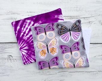 Butterflies Burp Cloth, Tie Dye Burp Cloths, Baby Girl Burp Cloth, Baby Shower Gift, Girl Burp Cloth, Flannel Burp Cloth, Gift Set of 2