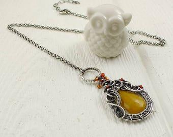 Wire wraped necklace, orange pendant, long silver necklace, gemstone jewelry