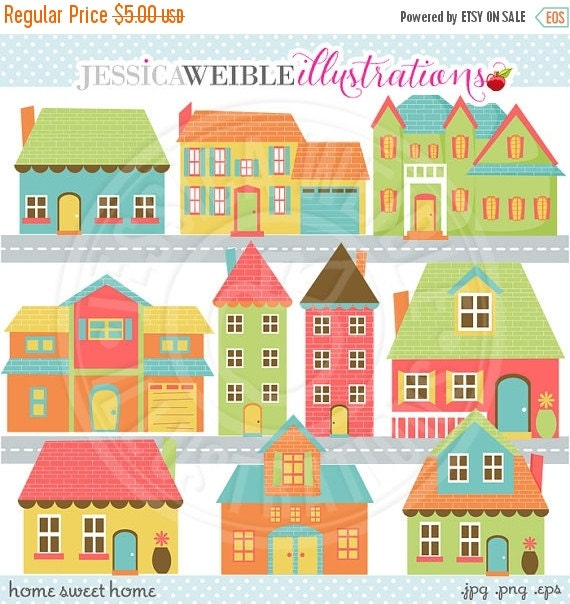 ON SALE Home Sweet Home Cute Digital Clip Art - Commercial Use OK - Neighborhood Graphics, Home Clipart