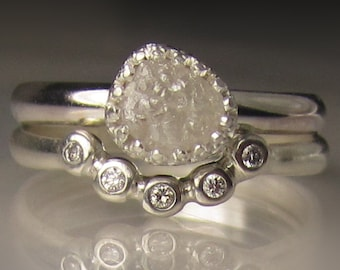 Raw Diamond Engagement Set, White Raw Diamond Ring, Rough Diamond Ring