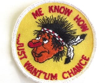 Vintage Offensive Humor, Native American Patch