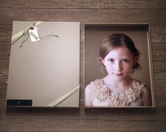 Recycled Kraft Photography Boxes for 8x10 prints-  box measures 8 1/4 x 10 1/4 x 7/8-- Set of 7