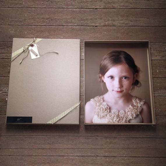 Photography Boxes for 8x10 prints-  Recyled Kraft box measures 8 1/4 x 10 1/4 x 7/8-- Set of 7