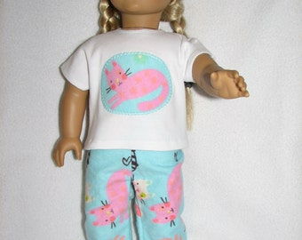 "18"" Doll  Pajamas & Sliipers - cat kitten kitty print"