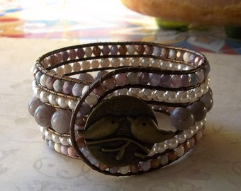 Lavender and Pearl Beaded Leather Cuff Bracelet