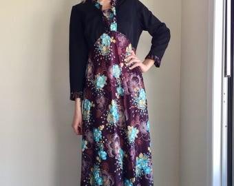 vintage 70s maxi dress boho hippie black  turquoise eggplant bolero jacket size XL plus size plus figure dress 1970s