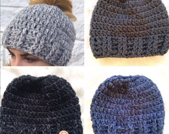 Messy Bun Hat - More Colors - Hand Crocheted and Ready to Ship