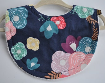 Baby Girl Navy Blue and Red Flower Terry Cloth Snap Bib