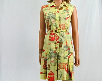 Vintage 1960s Coulette Romper with Yellow Novelty Print Dulottes