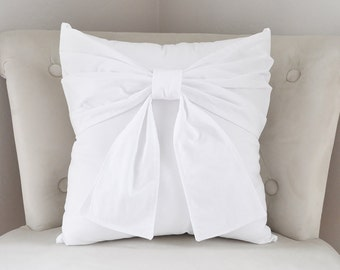 Bow on White Pillow Cover - Modern Bow Throw Pillow Cover - White Euro Sham - Decorative Pillow Cushion Cover Accent Pillows -Nursery Pillow