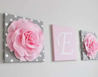 Pink and Gray Nursery Decor Baby Girl Nursery Custom Wall Letters Canvas Letters Shabby Chic Nursery Wall Art Mix and Match with your Decor