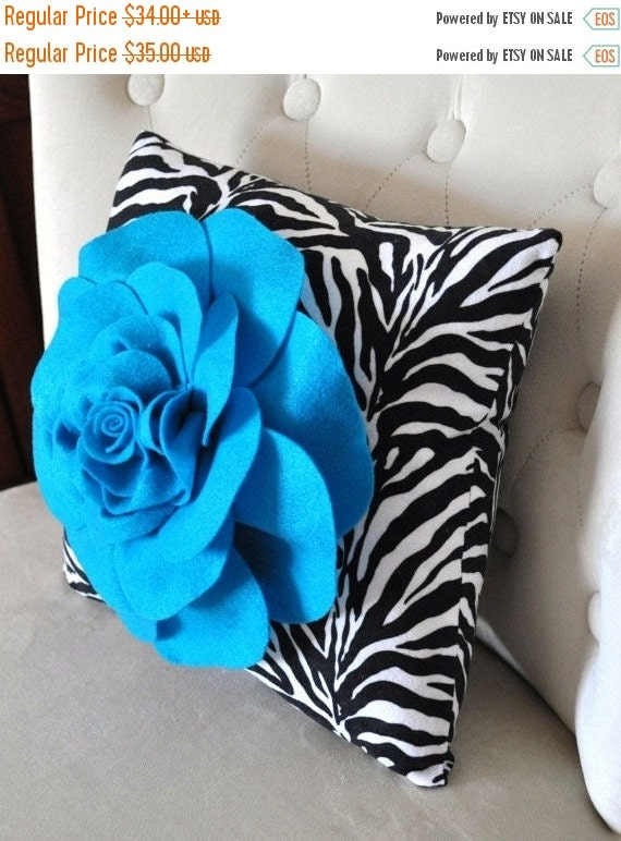 SALE SALE Accent Pillow Turquoise Rose on Zebra Print Throw Pillow