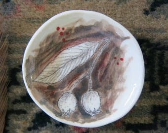 Tiny Ceramic Trinket Dish Olive Tree Leaf Hand Drawn Fine Art One of a Kind Gift Idea Home Decor, Handmade Pottery by Licia Lucas Pfadt