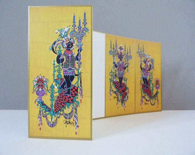 Bjorn Wiinblad triple image greeting card