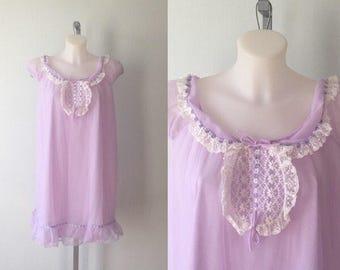 Vintage Lavender Chiffon Nightgown, 1960s Chiffon Nightgown, 1960s Nightgown, Creation Model Lingerie, Vintage Lingerie, Model