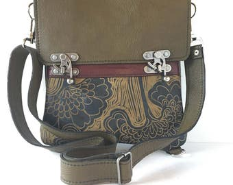 """Leather messenger bag, convertible backpack , medium sized,olive green ,with japanese lily print """" the excursion bag"""""""