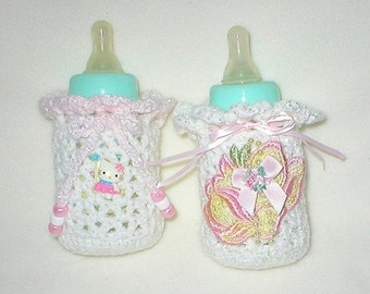 40% OFF RETIRING SALE Crochet Baby 0-3 Mts 4 Oz.Two Bottle Covers Hello Kitty By Hello Kitty And Hand Dyed Floral Applique Gift Set
