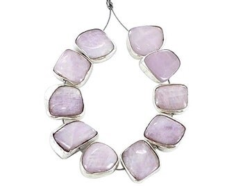 KUNZITE BEADS Sterling Silver Rimmed 8 Pieces NewWorldGems