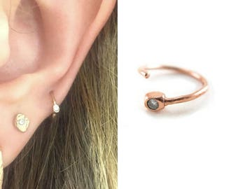 Solid Gold Recycled Diamond nose ring |solid gold hoop earring | rose gold nose hoop | rose gold nose ring | rose gold ethical nose ring