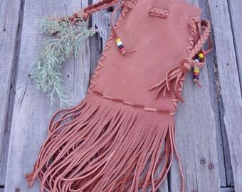 Fringed drawstring pouch , Ready to ship,  Leather drawstring bag , Cedar bag