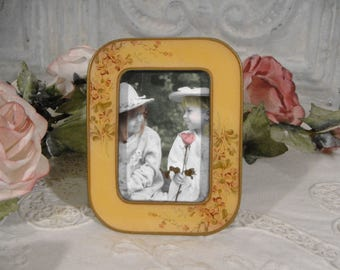Floral Enamelware Picture Frame  Bucklers Of 5th Ave Pink Poppy On Soft Yellow Vintage Buckler's Frame Heavy Metal and Enamel Picture Frame