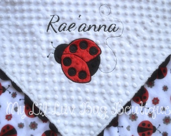 Personalized baby blanket, Ladybug red and black, 30x35 stroller blanket, ladybug baby blanket, name baby blanket