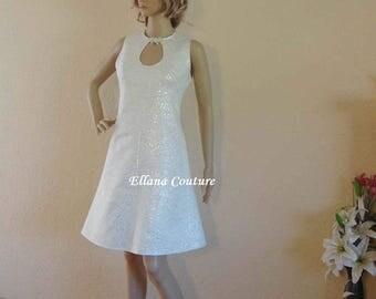Ready to Ship. Clara - Knee Length Retro Inspired Wedding Dress.