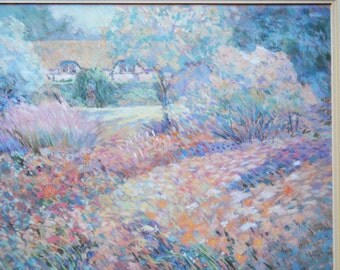 "SALE Impressionist style pastel by Jackie Simmonds titled ""Afternoon"" - signed & framed print"