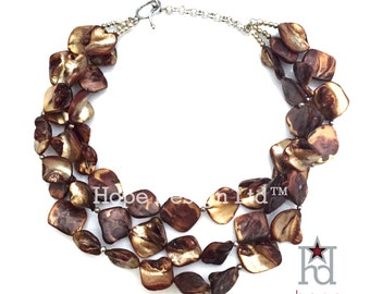 Brown Mother of Pearl Triple Strand 17 inch Necklace // 110240