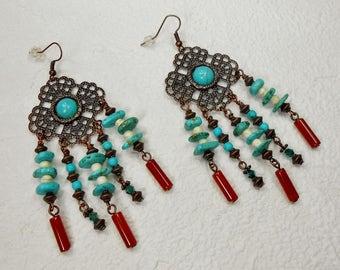 Bohemian Gypsy Earrings / Chandelier Earrings / Dangle Drop Earrings / Copper Howlite Earrings / Cowgirl Statement Earrings - GYPSY PRETTY