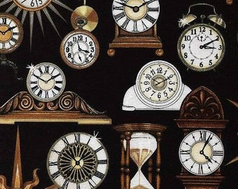 Timeless from Quilting Treasures - Full or Half Yard Clocks on Black