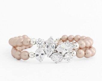 Blush Wedding Bracelet, Champagne Pearl Bracelet, Pearl Bridal Bracelet, Pearl Bridal Jewelry Pearl Wedding Jewelry Swarovski Cubic Zirconia