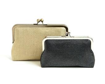 Gold Line Purse, Gold Metallic Linen clutch, Silk Clutch,Black Linen clutch purse, Evening Bag, Bag Noir,