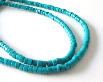 """Turquoise Disc Heishi Beads - Blue Disk Howlite Gemstone - Small Round Column Coin Beads - Center Drilled - 16"""" Strand - DIY Jewelry Making"""