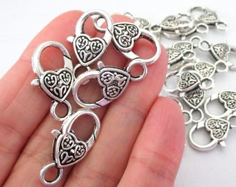 Silver Lobster Clasp - Heart Shape Lock Clasp - Extra Large Metal Lobster Clasp - Necklace Bracelet Components - 27mm - DIY Jewelry - 5 Pcs