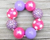 Pink and Purple Bracelet, Chunky Bracelet, Pink and Purple Jewelry, Chunky Necklace, Toddler Bracelet, Bubblegum Bracelet, Chunky Jewelry