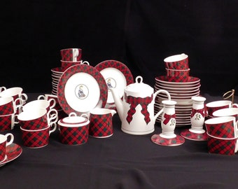 Sasaki Tartan Plaid by Charles Roberts 66 Pieces Serving,Plates,Cups/Saucers Exc