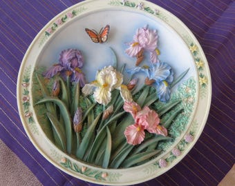 Lena Liu 1995 The Iris Garden Plate   3D first issue numbered  limited edition  Beautiful Gardens Series