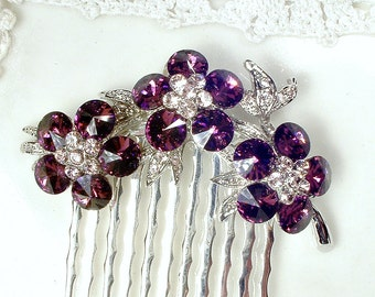 OOAK Purple Rhinestone Bridal Hair Comb, TRUE Vintage Small Silver Eggplant & Blush Crystal Brooch to Purple Wedding Hairpiece
