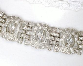 ORIGINAL French Paste Art Deco Bracelet, 1930's Antique Pave Rhinestone WIDE Link Silver Pot Metal 1920s SMALL Gatsby Bridal Vintage Wedding