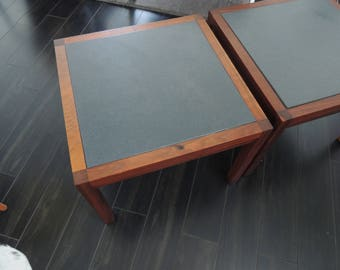 Pair of small walnut and slate mid century tables